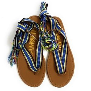 Sam & Libby Gladiator Blue Boho Tie Sandals